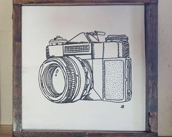 Vintage Framed 35 mm Camera Drawing
