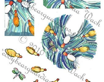 Ducks and Ducklings in a Pond - Elements for Collage - Digital Printable PDF