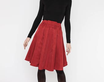 Red pleated skirt, wide pleats skirt, knee length skirt, wide skirt, elegant skirt