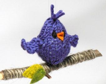 Bird on Branch Ornament, Knit Bird Holiday Christmas Ornament, Holiday Decor, Woodland Decoration, Natural Fibers