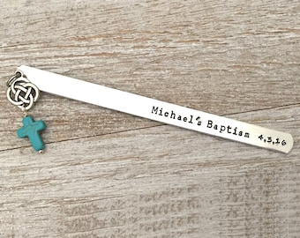 Baptism gifts, First Communion ,Confirmation, Personalized Bookmark,Custom Bookmark,Keepsake Date, Christian gifts, Catholic gifts, cross