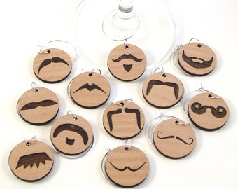 Mustache Wine Glass Charms - Moustache