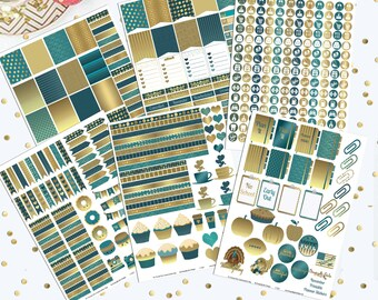 50% off DIY November Teal and Gold Printable Planner 450 Stickers pdf and 6 jpeg