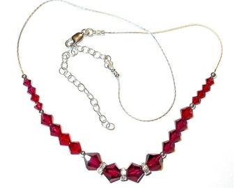RUBY RED Crystal Necklace Sterling Silver Swarovski Elements Handcrafted July Birthstone