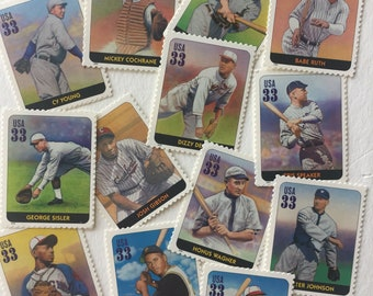 10 Legends of Baseball 33c US postage stamps unused -Babe Ruth Jackie Robinson Roberto Clemente