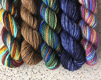 Lupin & Tonks Mini Sock Yarn Skeins - 25 yds each - set of hand dyed miniskeins for your beekeepers quilt
