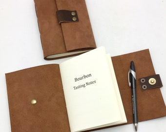 Leather Bourbon Tasting Notebook Journal, gift for bourbon lovers