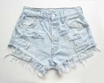"ALL SIZES ""PLAINO2"" Vintage high-waisted denim shorts light blue white distressed frayed jeans"