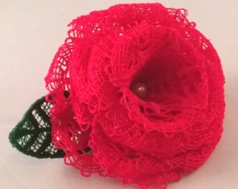 Delicate Red Lace Rose Hair Clip Accessory Flower