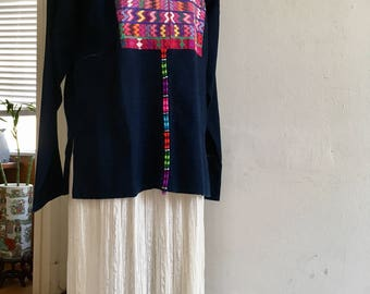 Vintage Indigo Embroidered Cotton Tunic