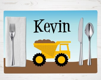 Children's Placemat - Dump Truck Placemat - Personalized with Child's Name - Custom Placemat - Construction Placemat
