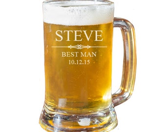 Groomsmen Beer Mug, Personalized Beer Mug, Engraved Beer Mug, Gift for Groomsmen, Beer Mugs, Wedding Favors