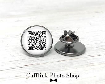 Custom Lapel Pin, Custom QR Code Pin, Personalized Gift, Hidden Message, Best Friend Gift, Custom Tie Tack, Unique Gift for Him