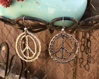 Vintage Peace Sign Earrings Silver Color
