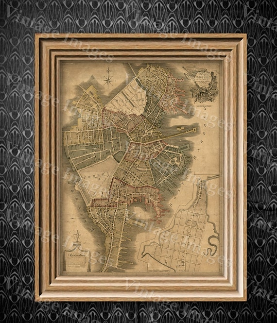 Boston Map Art Print Historic Boston City Map Antique Map of Boston Restoration Style Giant Boston wall Map house warming gift idea