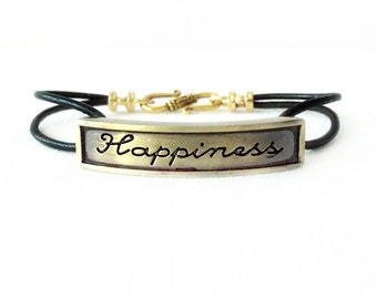 Round Leather Bracelet - Affirmation Word - Gold, Black - The Basics: 2mm Double Strand Happiness