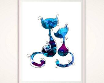 Cat Lover Gift - Cat Art Print - Blue Watercolor Cat Wall Art INSTANT Download Printable Cat Art Poster Wall Decor Cat Print PDF Unique Gift