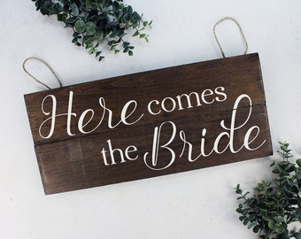 Rustic Here Comes the Bride Sign Ring Bearer Sign Wedding Sign Here Comes the Bride Wood Sign Flower Girl Sign