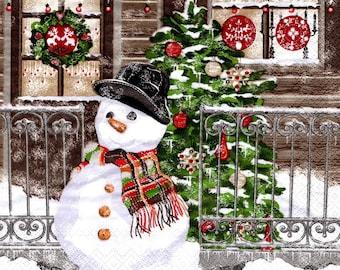 2 snowman snow paper (267) napkins