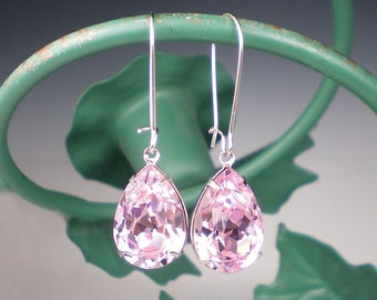 Pale Pink Rhinestone Earrings Wedding Jewelry Bridesmaid Earrings  Rosaline Pink