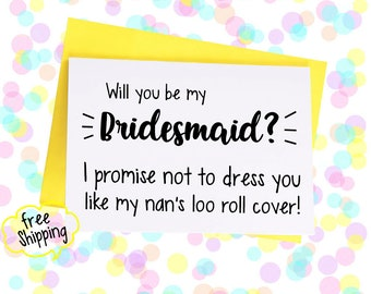 Bridesmaid card, will you be my bridesmaid, maid of honour card, maid of honor, bridal party cards, wedding cards