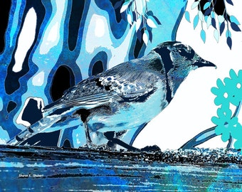 Blue Jay, Bird Art, Abstract Realism, Monochromatic Wildlife, Backyard Feeder, Garden Animal, Wall Hanging, Home Decor, Giclee Print,11 x 14