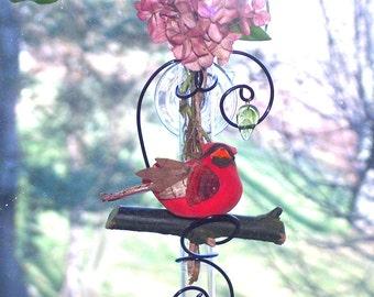 Cardinal Red Bird Suction Glass Window Vase Bud Vase Rooting Vase Memorial Vase