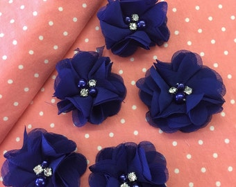 """2.5"""" Royal Blue Chiffon Flower with Pearl and Rhinestone Center set of 5"""