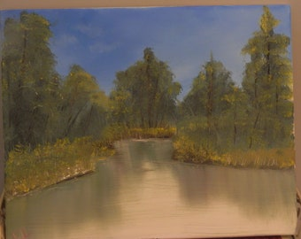 Hand-painted Lake and Tree Landscape