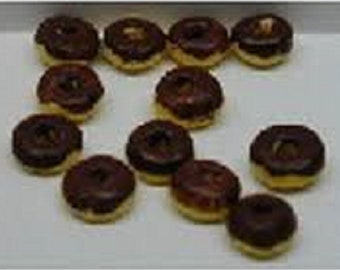 Dollhouse Miniature Donuts, Chocolate Frosted, Set of 12 Loose NOS #RR0252