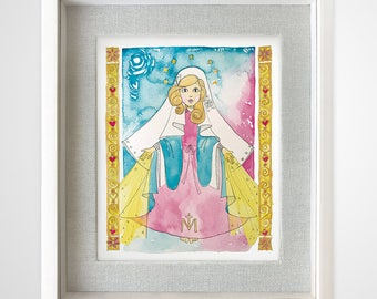 Miraculous virgin in watercolor, digital art direct download