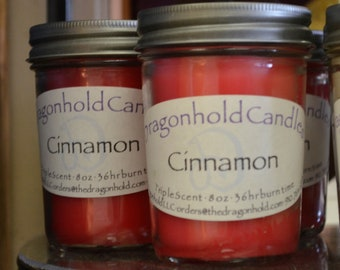 Cinnamon  Candle: Hand Poured, Triple Scented Soy-Paraffin Candle