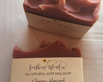Cherry Almond Soap// Goat Milk Soap// All Natural