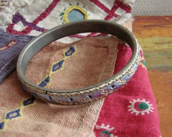 VINTAGE Indian Bangle -- Hand-made Ornate Brass Bangle with Silver Blue Details from 1970s,  Made in India, Boho wristband
