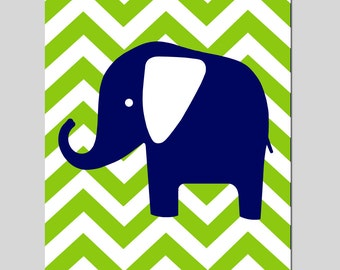 Chevron Elephant Nursery Art Print - 11x14 - Kids Wall Art - CHOOSE YOUR COLORS - Shown in Navy Blue, Apple Green, and More