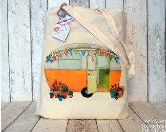 Yellow Caravan Tote Bag, Ethically Produced Reusable Shopper Bag, Cotton Tote, Shopping Bag, Eco Tote Bag, Stocking Filler, Caravan Gift