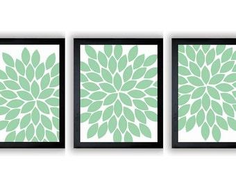 Flower Print Mint Green Chrysanthemum Flower Set of 3 Art Print Wall Decor Bathroom Modern Minimalist