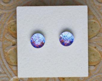 Dichroic Glass Earrings , Blue/Gray/Red DGE-1263