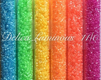 Delica beads neon set by Miyuki size 11/0. 6 colors