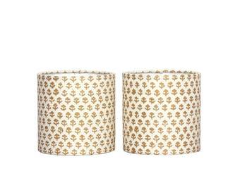 Custom Chandelier Shades - Sconce Shades -  Gold Floral Drum Lampshade - John Robshaw - Block Print - Boho Chic Lighting