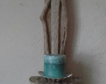 Driftwood  candle  sconce with shell feature