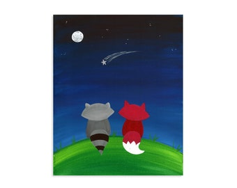 Two Friends Watching Stars ~ Fox and Raccoon at Night