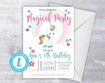 Unicorn Birthday Invitation, UNICORN Birthday Invite, girly Invitation, rainbow birthday, Unicorn birthday party, any age,