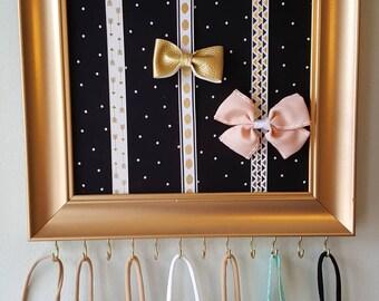 Black & Gold Bow Holder Frame/bow organizer/headband holder