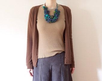 Knitted bib necklace, statement fiber jewelry, blue green, OOAK