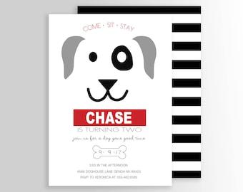 Modern Dog Birthday Party Invite - Puppy Invitation - Puppy Pawty - Party Supplies