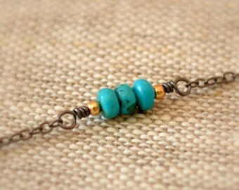 Real Turquoise Necklace, Mixed Metal Choker, Black Gunmetal Chain, Gold, Wire Wrapped, Layering, Simple Summer Jewelry