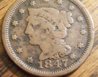 1847  Liberty  Braided Head Large Cent