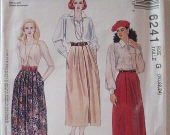 Plus Size Skirt Sewing Pattern - 90 Minute Easy Pattern - McCalls 6241 - Sizes 20-22-24, Waist 34-37-39, Uncut