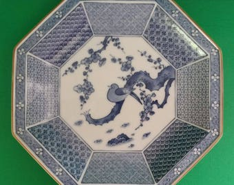 Vintage Arita Blue and White Porcelain Dish Platter Japan Chinoiserie Hollywood Regency Asian Export Bird Octagonal